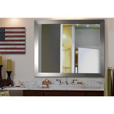 38 in. x 32 in. Silver Wide Non Beveled Vanity Wall Mirror