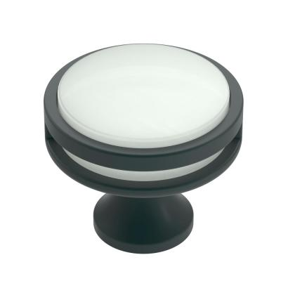 Oberon 1-3/8 in. (35 mm) Dia Matte Black/Frosted Acrylic Cabinet Knob
