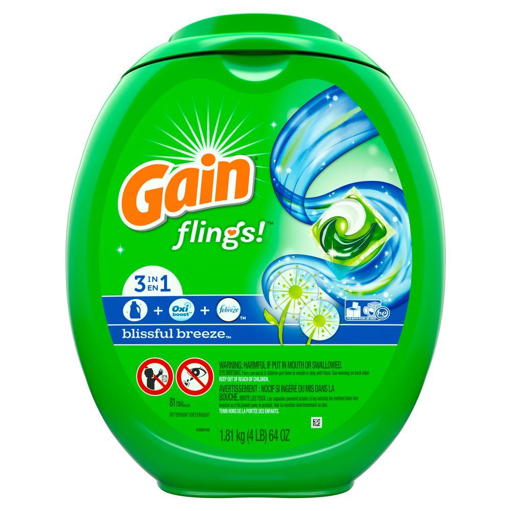 Gain Flings Blissful Breeze Plus Oxi Boost and Febreze Laundry Detergent  (81-Count)