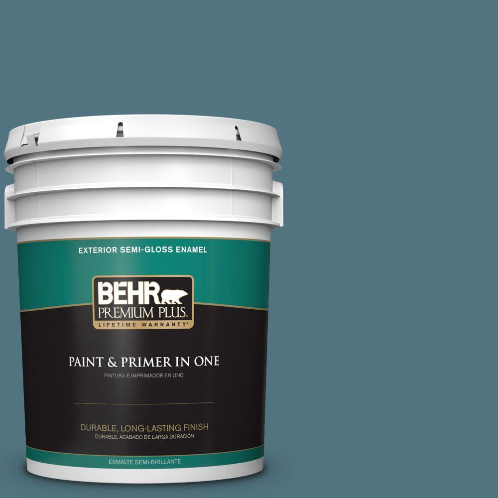 BEHR Premium Plus 5-gal. #ECC-54-2 Country Lake Semi-Gloss Enamel Exterior Paint