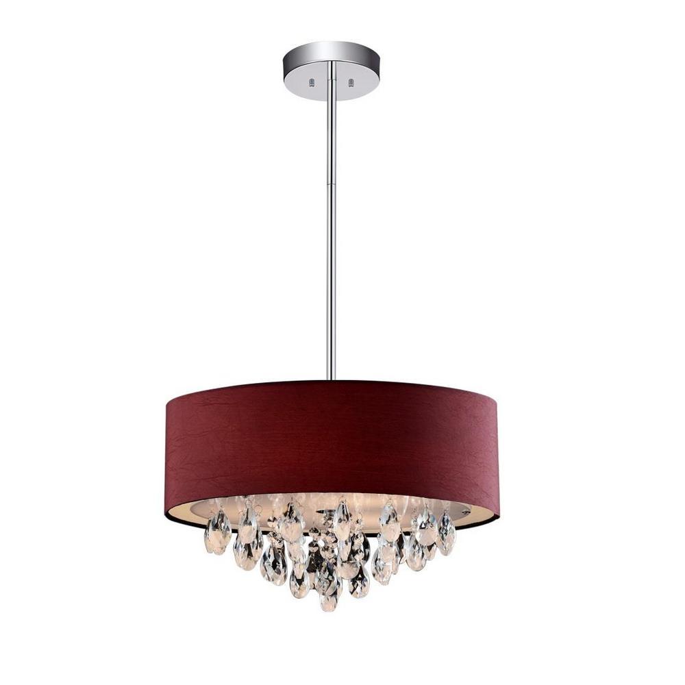 Crystal world inc dash 4 light chrome chandelier with wine red crystal world inc dash 4 light chrome chandelier with wine red shade arubaitofo Choice Image