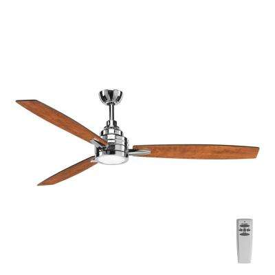 Gaze Collection 60 in. LED Indoor Polished Chrome Ceiling Fan with Light Kit and Remote