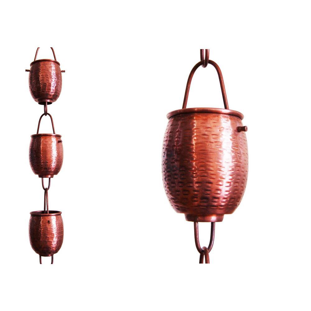 8.5 ft. Pure Copper Textured Rain Barrel Rain Chain