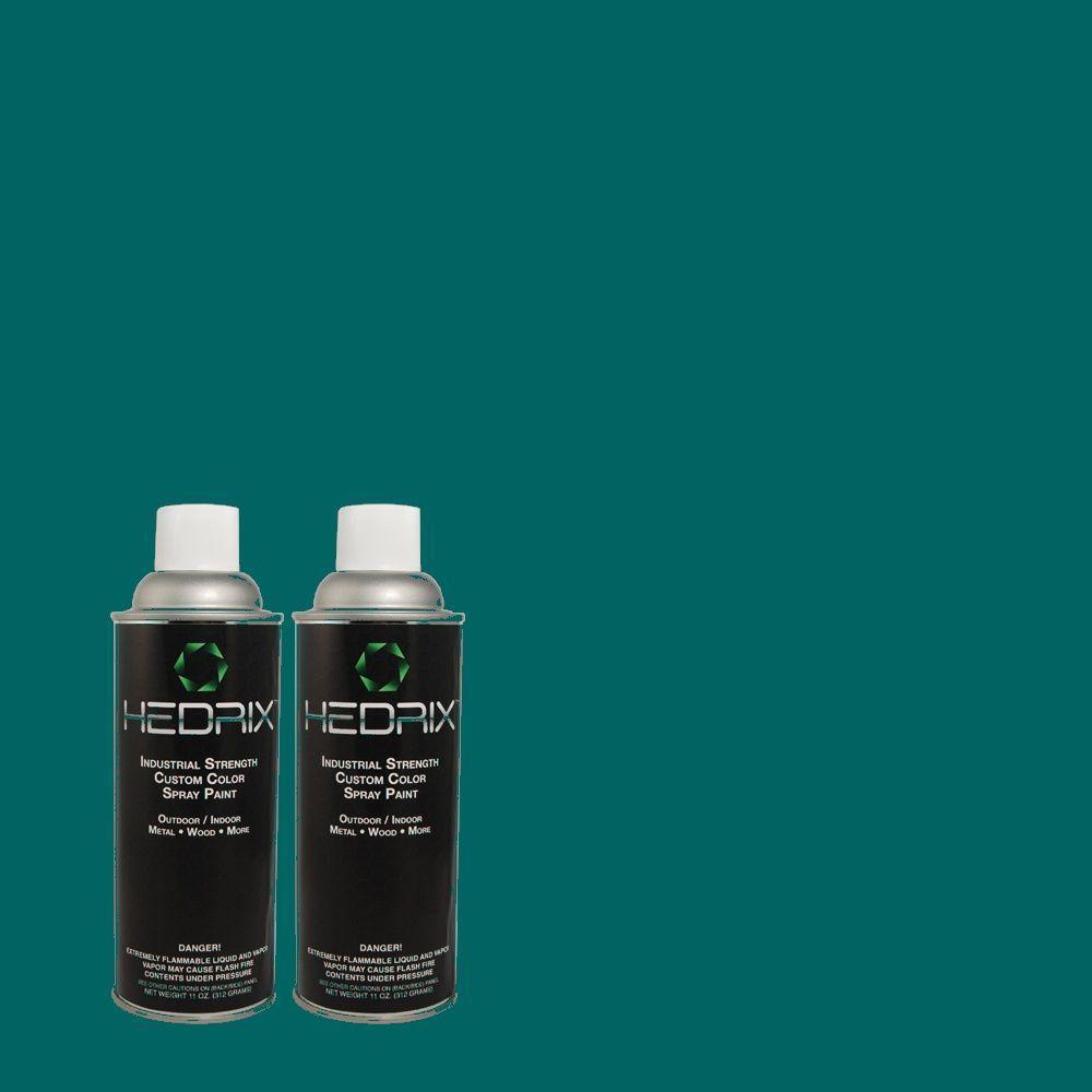 Hedrix 11 oz. Match of S-H-520 Peacock Tail Semi-Gloss Custom Spray Paint (2-Pack)