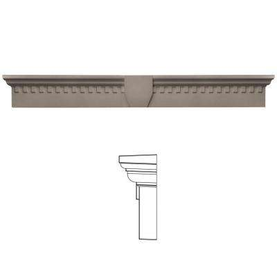 9 in. x 73 5/8 in. Classic Dentil Window Header with Keystone in 008 Clay