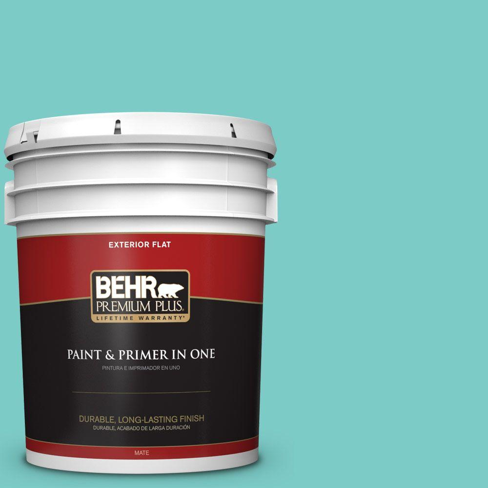 BEHR Premium Plus 5-gal. #BIC-39 Blue Green Gem Flat Exterior Paint