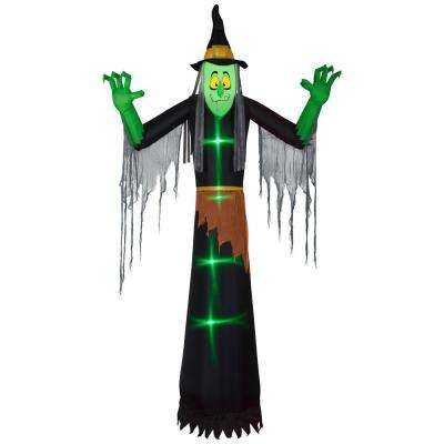 12 ft. Pre Lit Inflatable Lightshow Short-Circuit Green Witch with Clothing Air-Blown