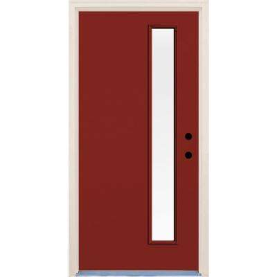36 in. x 80 in. Left-Hand Cordovan 1 Lite Clear Glass Painted Fiberglass Prehung Front Door with Brickmould