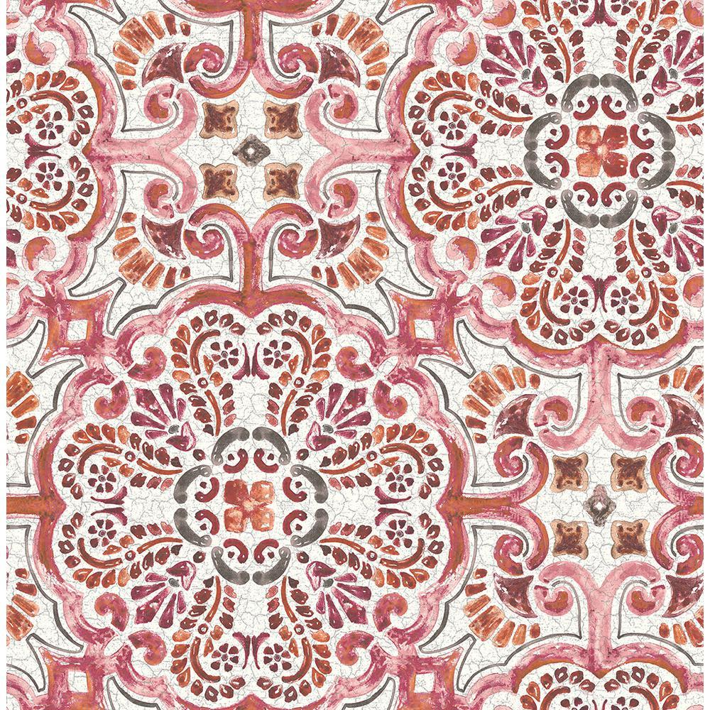 a street florentine pink tile wallpaper 2540 24043 the home depot rh homedepot com