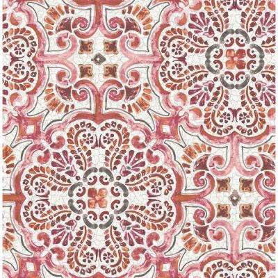 Florentine Pink Tile Wallpaper Sample