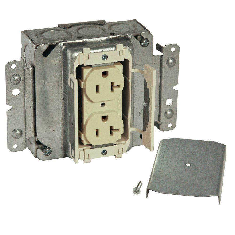 RACO 1-Gang 20 Amp Prewired Duplex Outlet Assemble Box - Ivory (12-Pack)