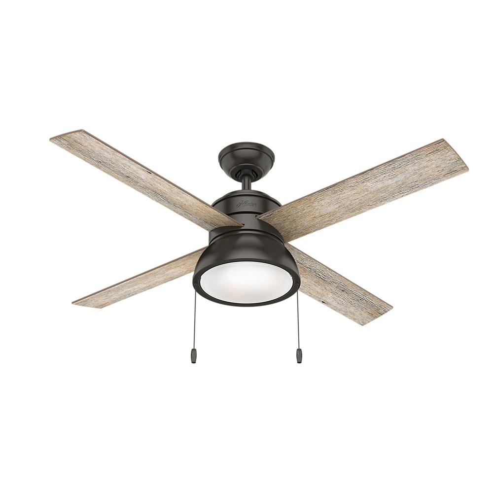 Hunter Loki 52 in. Integrated LED Indoor Noble Bronze Ceiling Fan with Light Kit