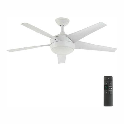Windward IV 52 in. LED Indoor Matte White Ceiling Fan with Light Kit and Remote Control