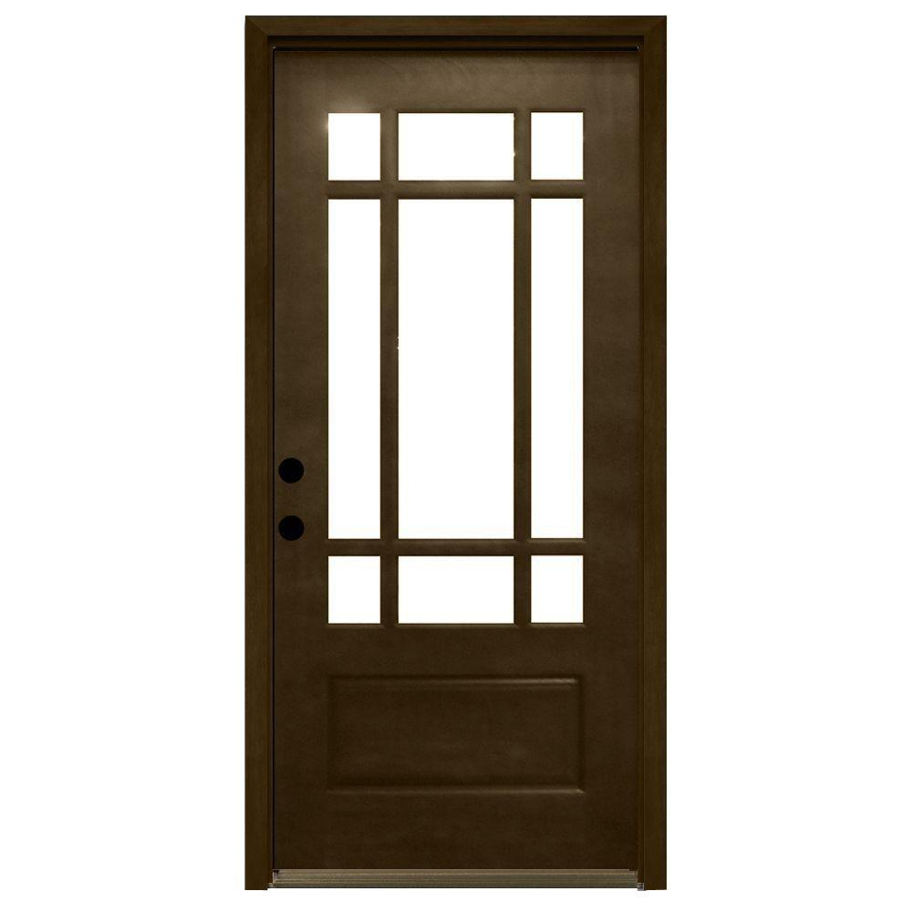 Steves sons 32 in x 80 in craftsman 9 lite stained mahogany wood prehung front door m3109 2 for Prehung hickory interior doors