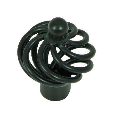 Coventry 1-3/8 in. Matte Black Spiral Cage Cabinet Knob (25-Pack)