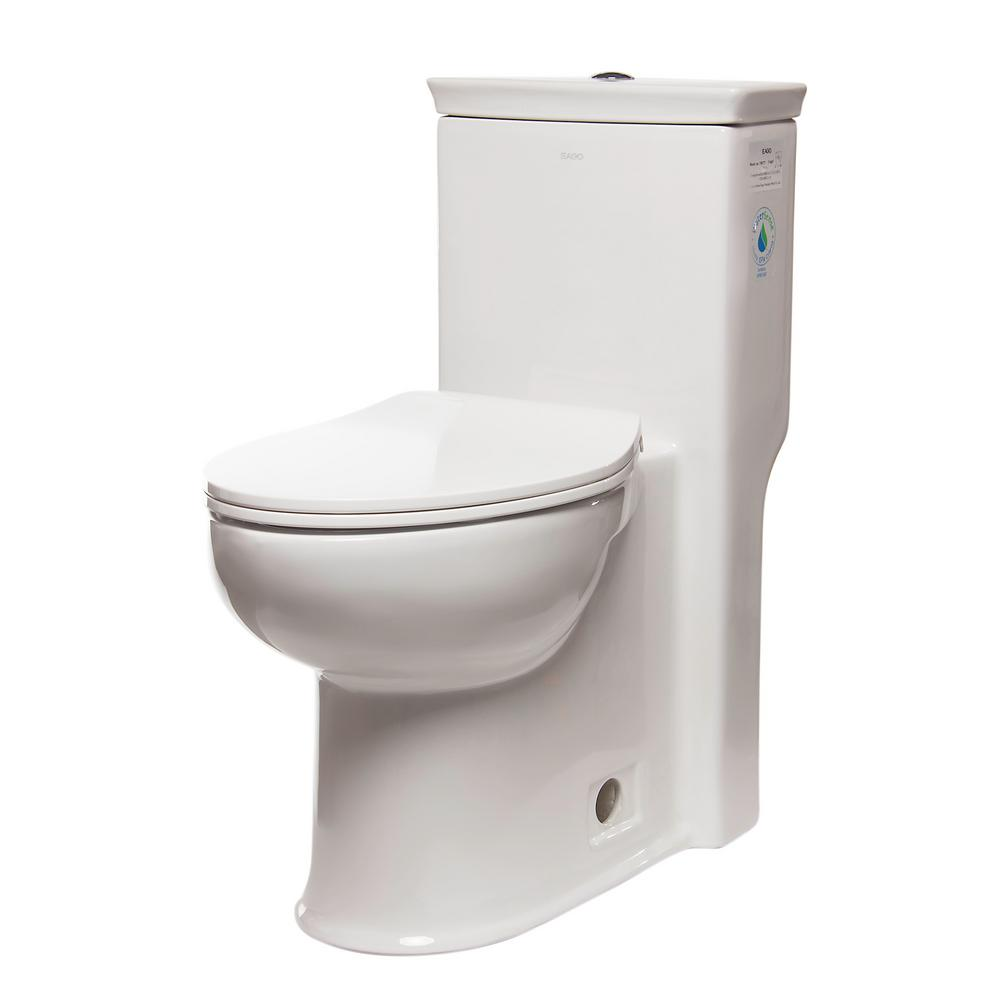 ADA Compliant 1-Piece 1.28 GPF Single Flush Elongated Toilet in White