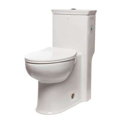 ADA Compliant 1-Piece 1.28 GPF Single Flush Elongated Toilet in White