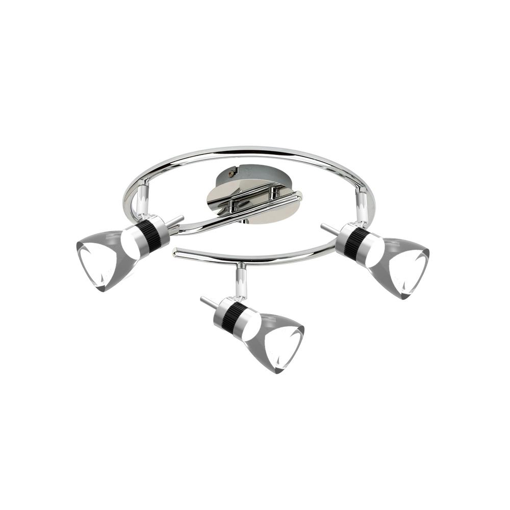 LED Brushed Chrome Integrated LED Track Lighting with 3 Heads