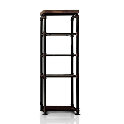 62.5 in. Antique Black Metal 5-shelf Etagere Bookcase with Open Back