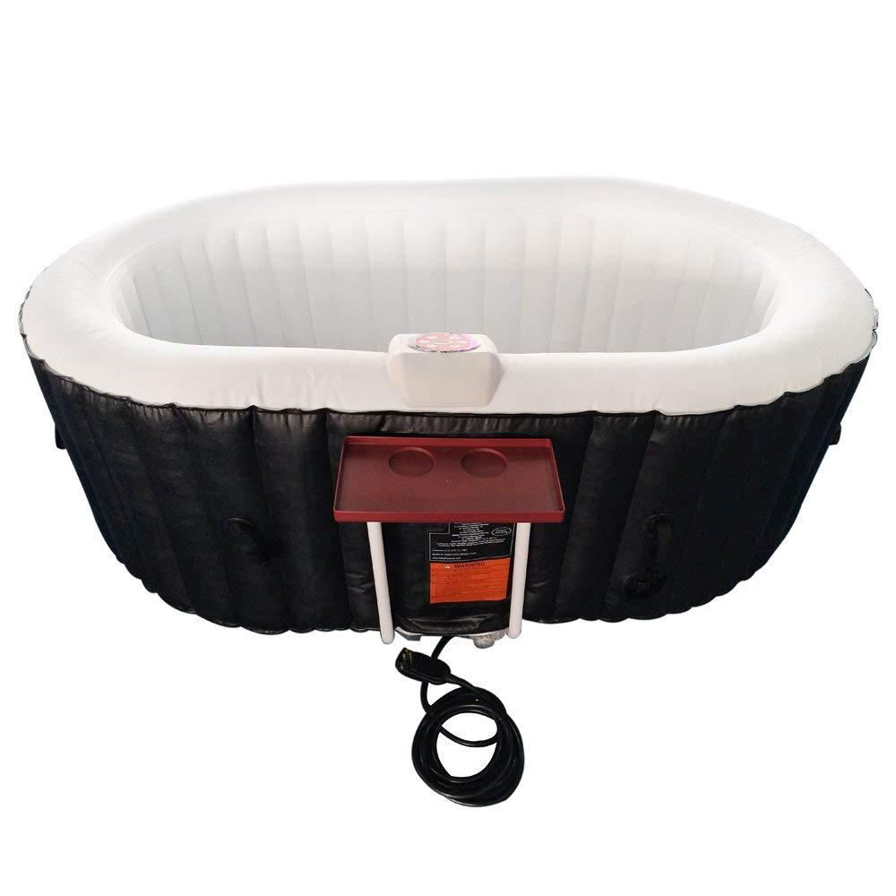 ALEKO 2-Person 130-Jet Inflatable Hot Tub with Drink Tray and Cover