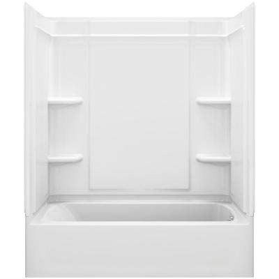 Ensemble Medley 60 in. x 32 in. x 75 in. 4-piece Tongue and Groove Tub Wall in White