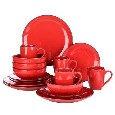16-Piece Red Ceramic Dinnerware Set Plates and Bowls Set Coffee Mugs (Service for 4)