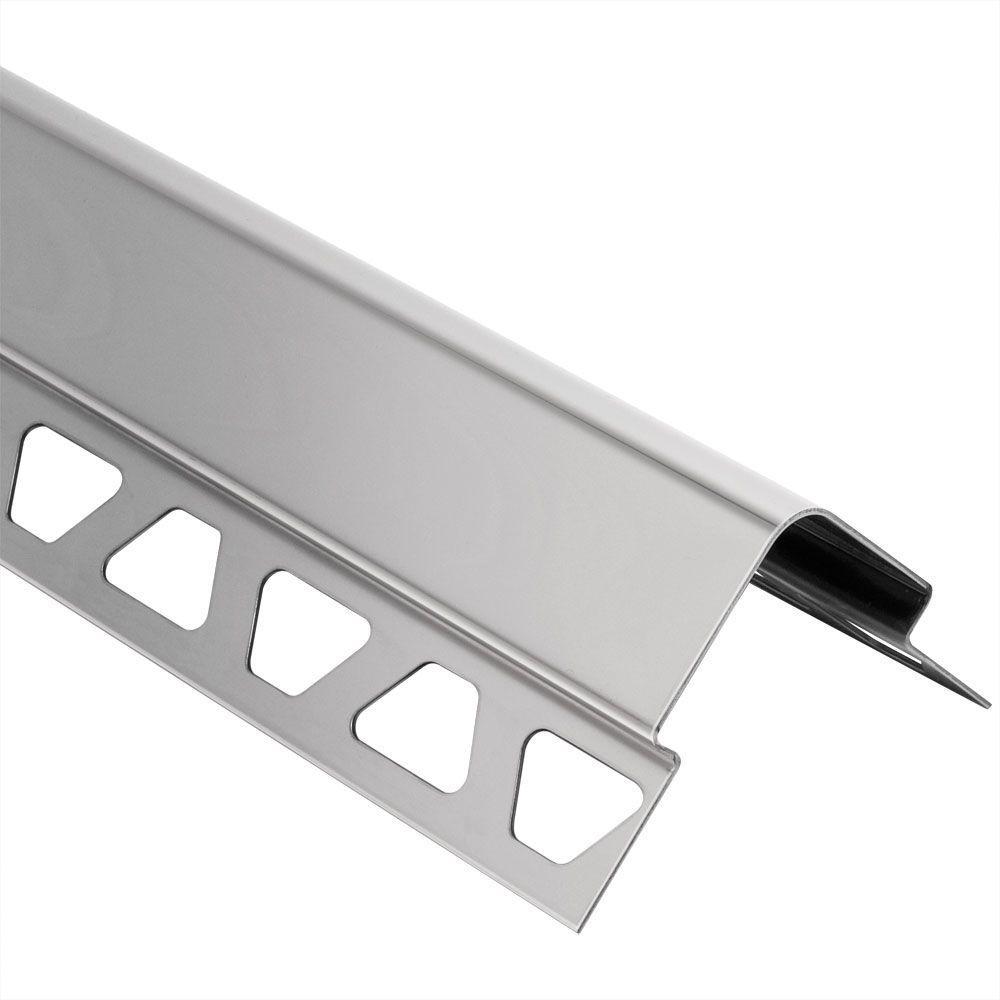 Schluter ECK-E Stainless Steel 7/16 in. x 8 ft. 2-1/2 in. Metal Corner Tile Edging Trim