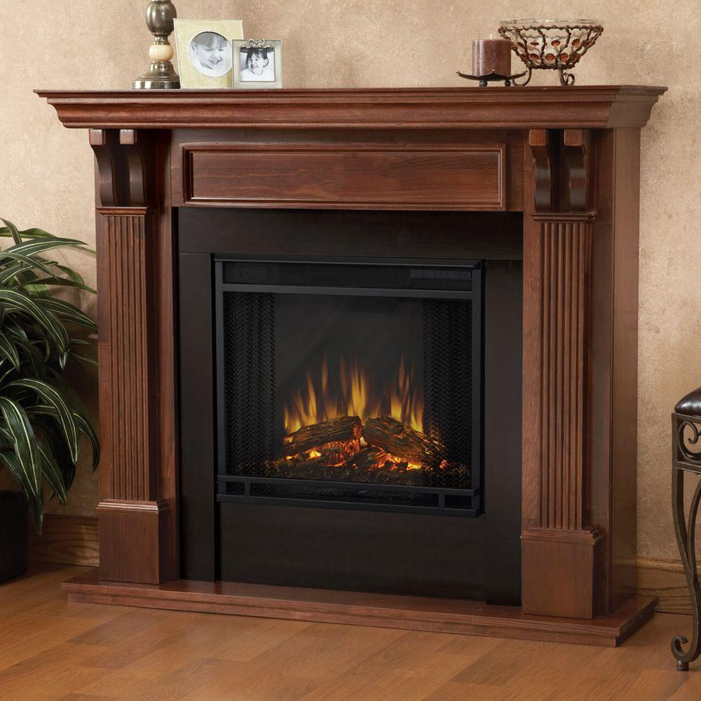 Add modern touch to your home decor by choosing this Real Flame Ashley Electric Fireplace in Mahogany. Offers durability.