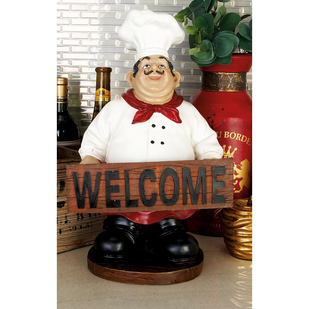 Gourmet Chef Welcome Sign Stand Figurine Figure Statue