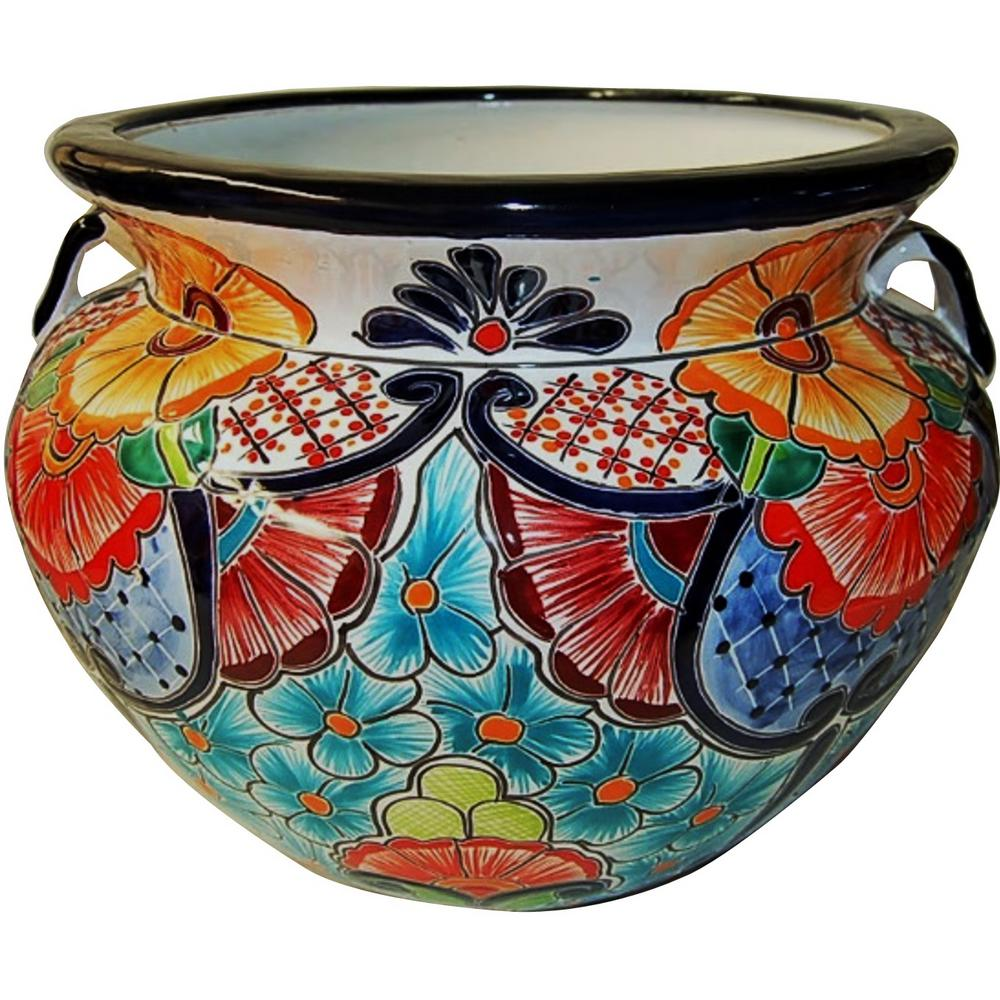 11 in. Dia Light Blue Talavera Chata Pot