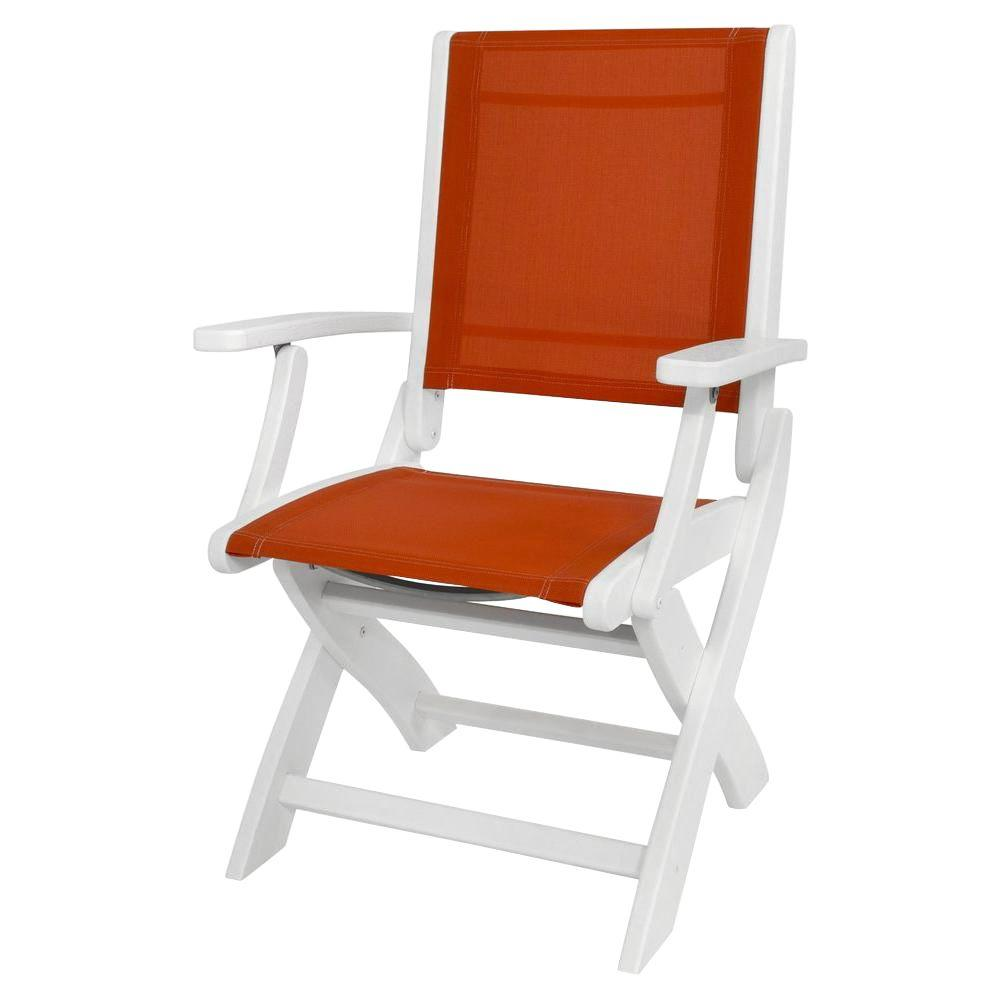 Polywood White Salsa Sling Coastal Patio Folding Chair