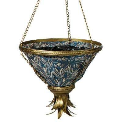 Gold Sierra Hanging Planter With Blue Liner