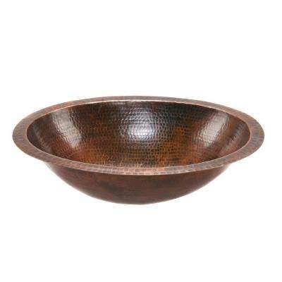 Under-Counter Oval Hammered Copper Bathroom Sink in Oil Rubbed Bronze