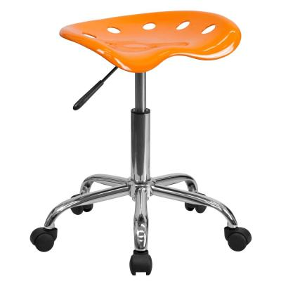 Vibrant Orange Tractor Seat and Chrome Stool