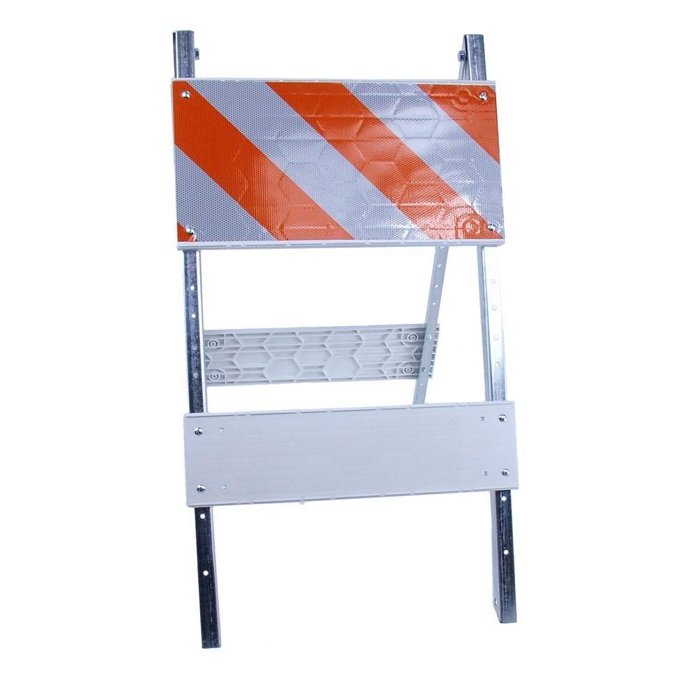 Three D Traffic Works 12 in. Plastic/Galvanized High-Intensity Type I Folding Barricade