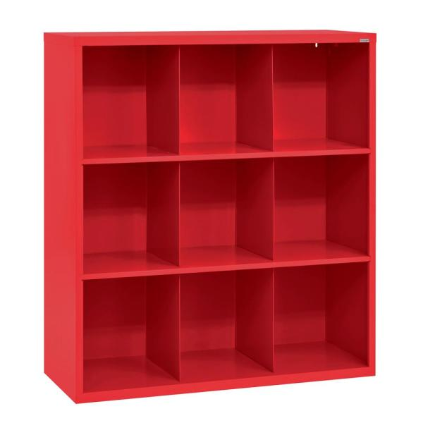 52 in. H x 46 in. W x 18 in. D Red Steel 9-Cube Storage Organizer