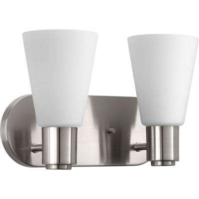 Logic Collection 2-Light Brushed Nickel Bathroom Vanity Light with Glass Shades