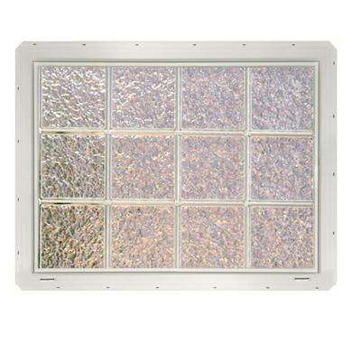 31.75 in. x 24.25 in. x 3.25 in. Ice Pattern Vinyl Glass Block Window with White Colored Nailing Fin