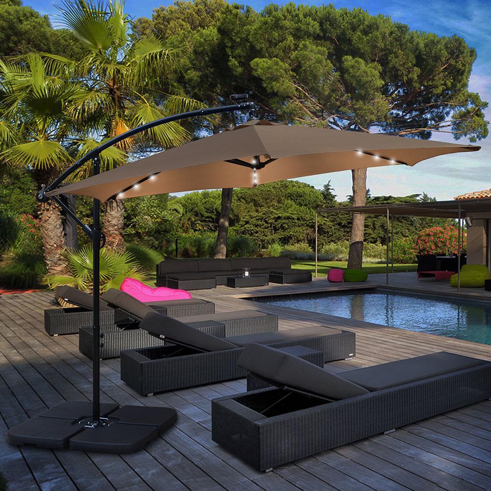 10 ft. Market Solar Offset Outdoor Patio Umbrella in Tan