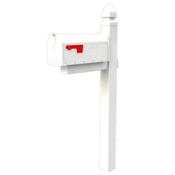 Everton Elite White Steel Mailbox and Post Combo