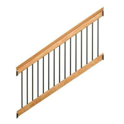 Western Red Cedar Stair 6 ft. Railing Kit with Black Aluminum Balusters