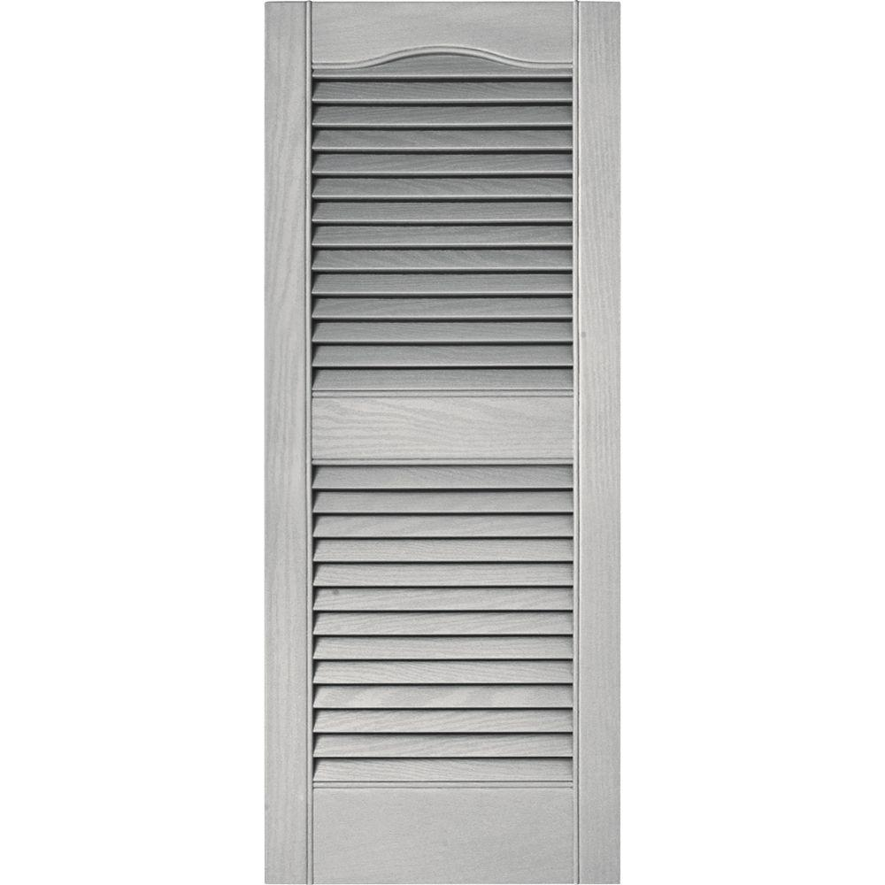 Builders edge 15 in x 36 in louvered vinyl exterior shutters pair in 030 paintable for Exterior louvered window shutters