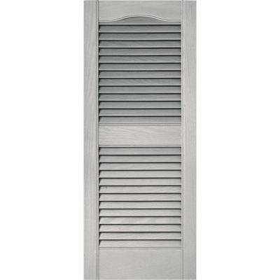 15 in. x 36 in. Louvered Vinyl Exterior Shutters Pair in #030 Paintable