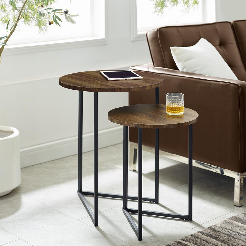 Dark Walnut/Black 2-Piece Round Nesting End Tables