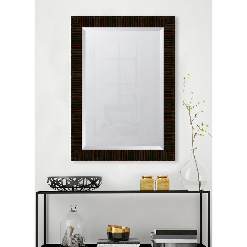 31 in. x 43 in. Framed 31/4 in. High Gloss Zebra Walnut Resin Frame Mirror