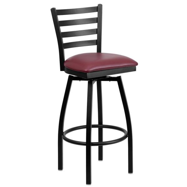 Flash Furniture 32 in. Black and Burgundy Swivel Cushioned Bar Stool