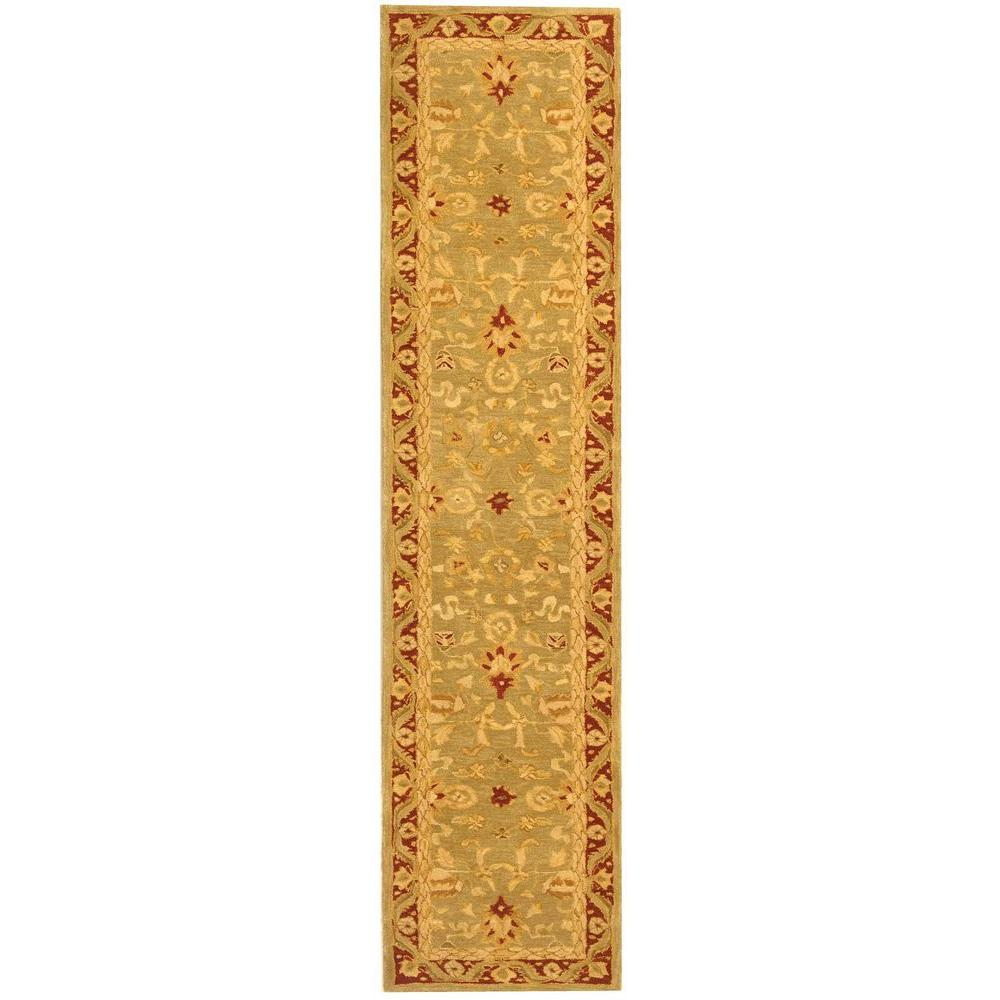 Anatolia Light Green/Red 2 ft. 3 in. x 10 ft. Runner
