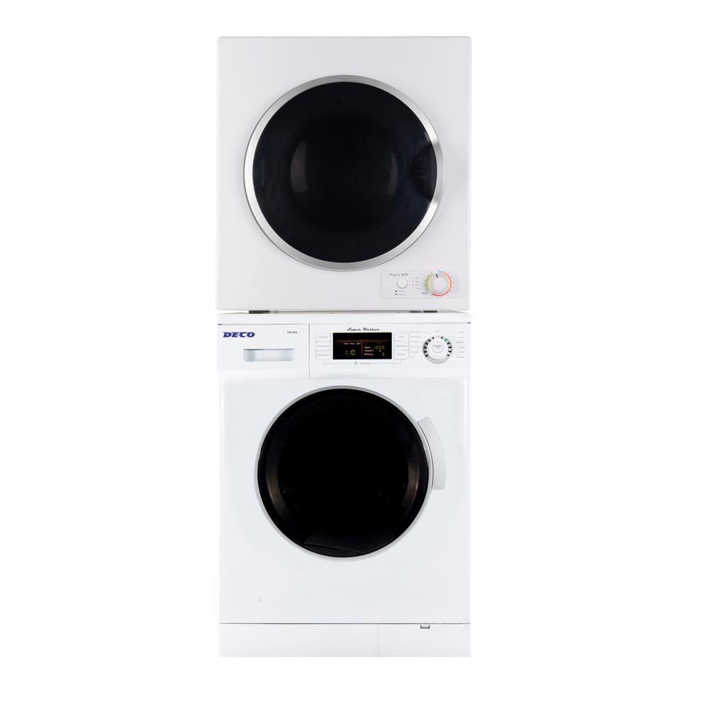 Deco White Laundry Center with 1.6 cu. ft. Washer and 3.5 cu. ft. Electric Dryer Including Dryer Stack Rack