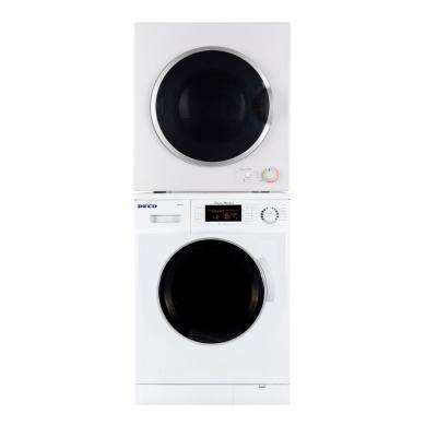 White Laundry Center with 1.6 cu. ft. Washer and 3.5 cu. ft. Electric Dryer Including Dryer Stack Rack