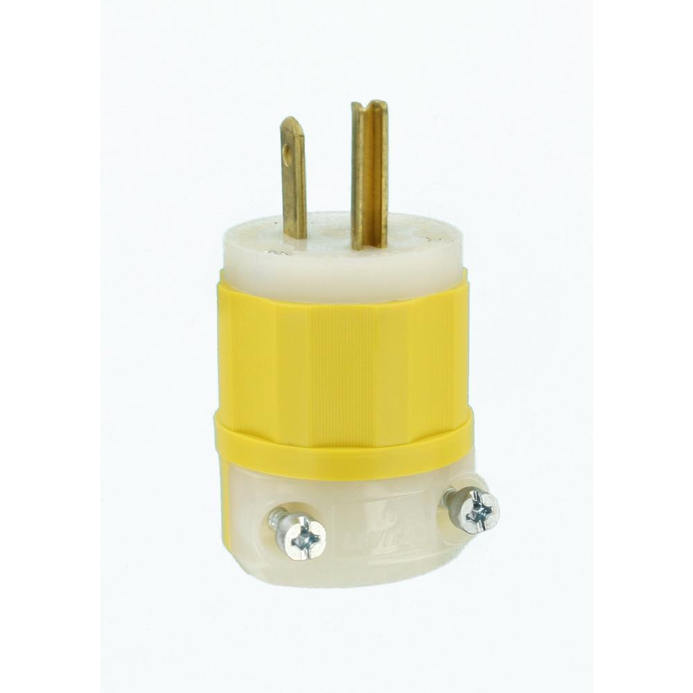 15 Amp 125-Volt Straight Blade Grounding Plug, Yellow/White
